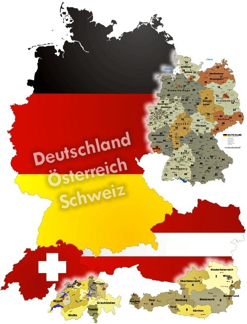 Karte Süddeutschland österreich Schweiz.Postleitzahlen Landkarte Gebietskarte Deutschland Plz Gebiete